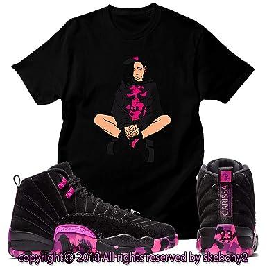 f68a6350f21 Custom T Shirt Matching Air Jordan 12 Retro DB Pink JD 12-4-4 at Amazon  Men's Clothing store: