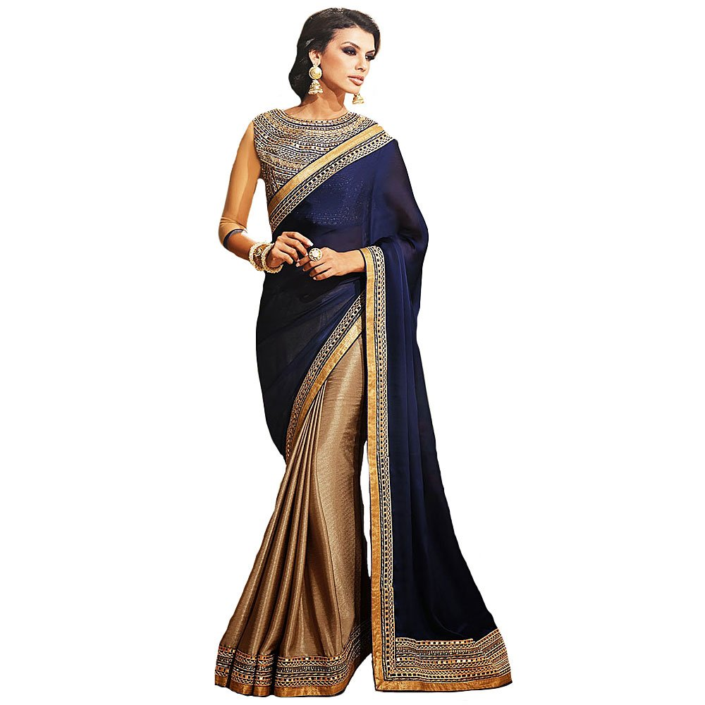 Shree Designer Sarees Women's Repute Brown & Navy Blue Georgette On Silk Saree SDS 37003