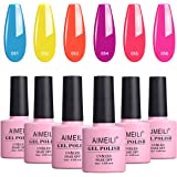 AIMEILI Soak Off UV LED Gel Nail Polish Neon Multicolour/Mix Colour/Combo Colour Set Of 6pcs X 10ml - Kit Set 11