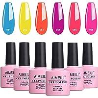 AIMEILI Soak Off UV LED Gel Nail Polish Neon Multicolour/Mix Colour/Combo Colour Set Of 6pcs X 10ml - Kit Set 11