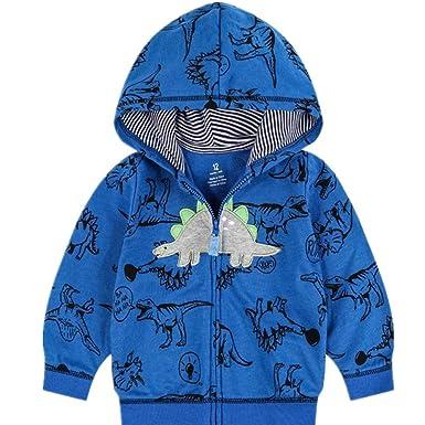 276ecab8e Amazon.com  Popshion Toddler Boys Jacket Cartoon Dinosaur Christmas ...