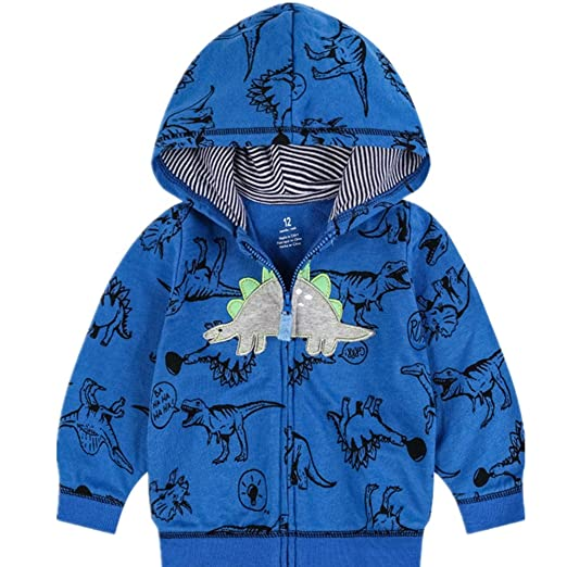1cf9b139b Amazon.com: Popshion Baby Boys Long Sleeve Dinosaur Hoodies Toddler Zip-up  Light Hooded Jacket Sweatshirt Outwear 6M-4T: Clothing