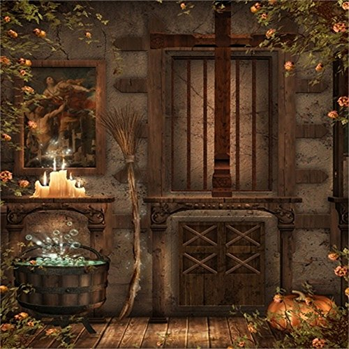 LFEEY 5x5ft Magic Witch Soup Backdrop Halloween Sorceress Broom Pumpkin Photography Background Autumn Vine Leaves Florets Fall Rural Old Room Photo Studio Props Festival Kid Party Decor Vinyl -