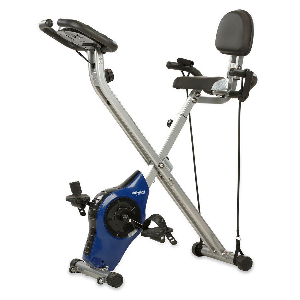 Aktivshop Heimtrainer X-Bike Fitnessbike Fahrradtrainer faltbar 5 kg Schwungmasse mit Handpulsmessung Tubes Trainingscomputer Silber Blau 100 kg belastbar