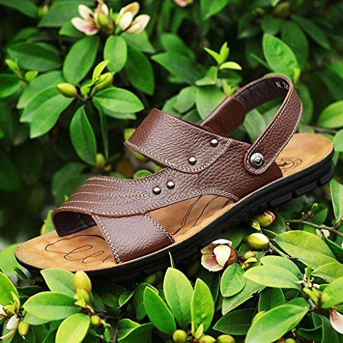 Sandali pelle EU39 piatto estate fondo in traspirante scarpe scarpe antiscivolo pelle dimensioni vera Casual CJC Colore con UK6 morbido da Marrone spiaggia in Marrone rwqApr