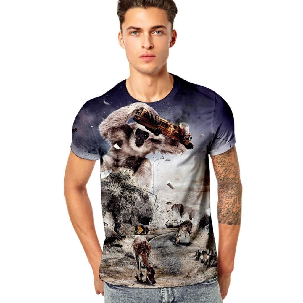 Men T Shirt,Fineser Mens Funny Short Sleeve 3D Monkey Car Printing Casual Slim Fitness Elastic Tee Shirt Top M-4XL