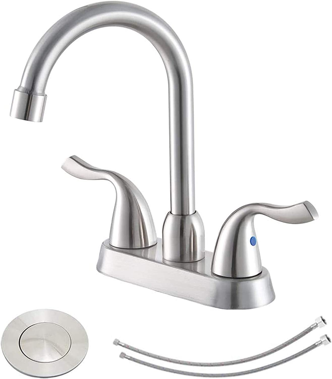 Hotis Commercial Two Handle Brushed Nickel Bathroom Faucet, Lavatory Bathroom Vanity Faucets with Water Supply Lines & Pop Up Drain