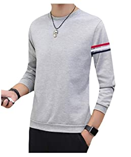 AngelSpace Men's Warm Essential Autumn StripedLong Sleeve Raglan Outwear White L