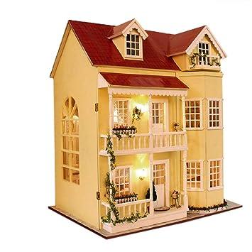 Puppenhaus Dollhouse Bausatz Aus Holz Mit Kompletter Einrichtung Incl Beleuchtung Diy