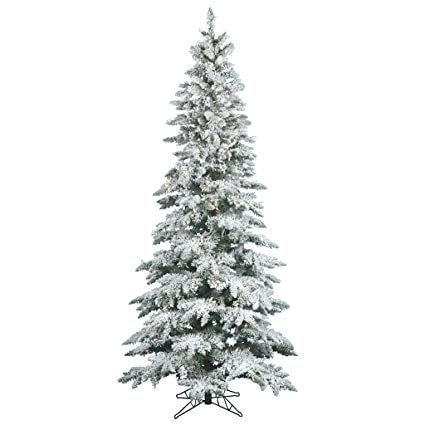flocked slim utica fir pre lit led christmas tree - Prelit Led Christmas Trees