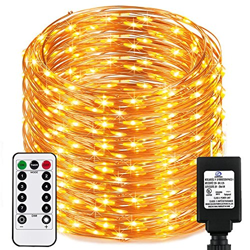 Dimable Led String Lights Plug In with Remote&Timer, RcStarry(TM) New Version 333Ft/100M 1000 Leds Copper Wire String Lights, Warm White, UL Listed, Ideal for Bedroom, Parties, Wedding, Christmas,etc. by RcStarry