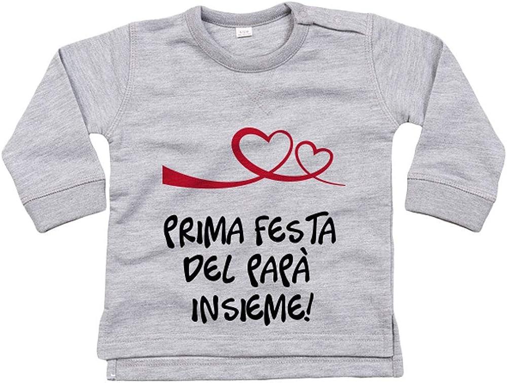 Felpa garzata per Neonato in Cotone Biologico Prima Festa del pap/à Insieme