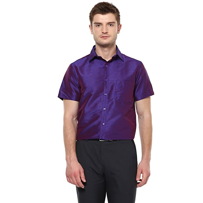 68586c9c87b6a Khoday Williams Men Poly Silk Plain Solid Short Sleeve Regular Fit Casual  Formal Shirt Dark Purple  Amazon.in  Clothing   Accessories
