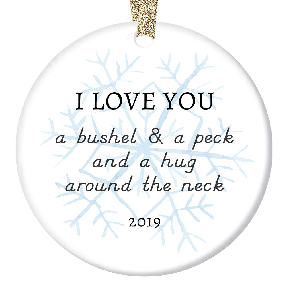 """2019 Christmas Ornament Ceramic Keepsake Parents to Son Daughter Mom Dad Love Hugs & Kisses Lovely Snowflake Special Child Adopted or Stepchildren Porcelain 3"""" Flat with Gold Ribbon Free Gift Box 61pCZ6Ab3KL"""