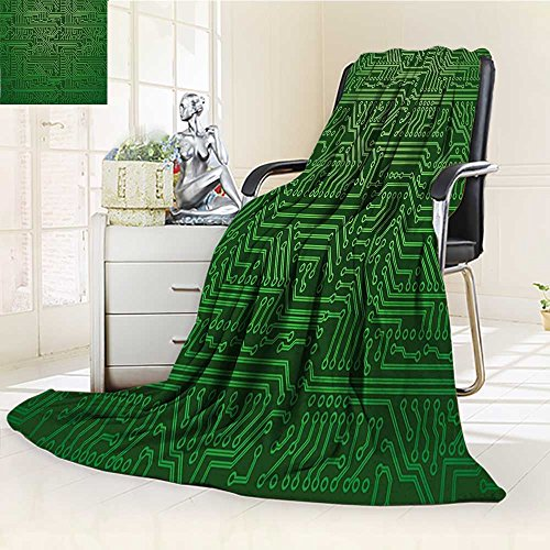 Decorative Throw Duplex Printed Blanket Digital Computer Art Backdrop with Circuit Board Diagram Hardware Wire Emerald Fern Green |Home, Couch, Outdoor, Travel Use/W59 x H79 by YOYI-HOME