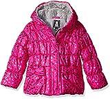 Rothschild Little Girls' Foil Heart Jacket with Mittens, Rubi Light, 5/6