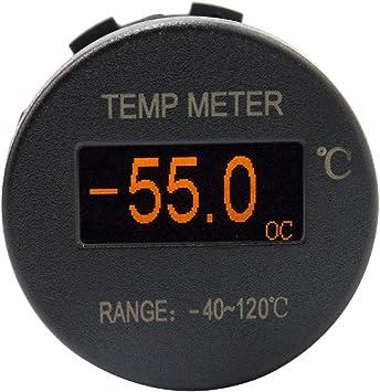 DC 12V-24V Car Motorcycle OLED Digital Display Temp Gauge Meter Thermometer