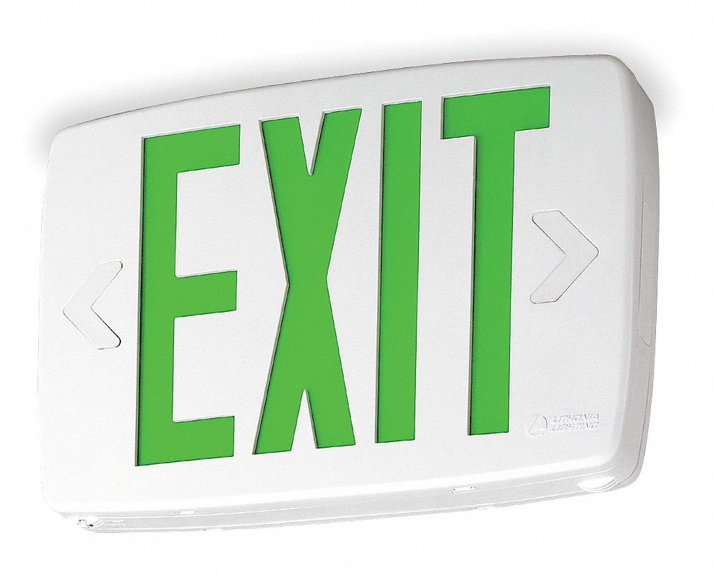 Exit Sign w//Bttry Back Up 0.71W 1 or 2