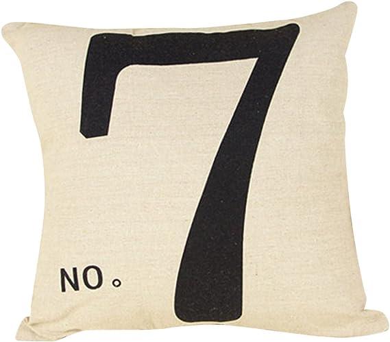 Amazon Com Paialco Cotton Linen Number 7 Throw Pillow Case Cushion Cover 16 X16 42x42cm Home Kitchen