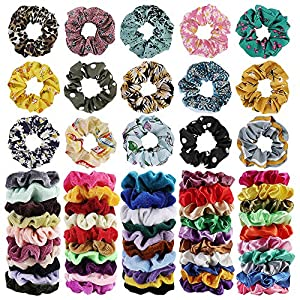 65Pcs Hair Scrunchies Velvet,Chiffon and Satin Elastic Hair Bands Scrunchie Bobbles Soft Hair Ties Ropes Ponytail Holder Hair Accessories,Great Gift for halloween Thanksgiving day and Christmas 10