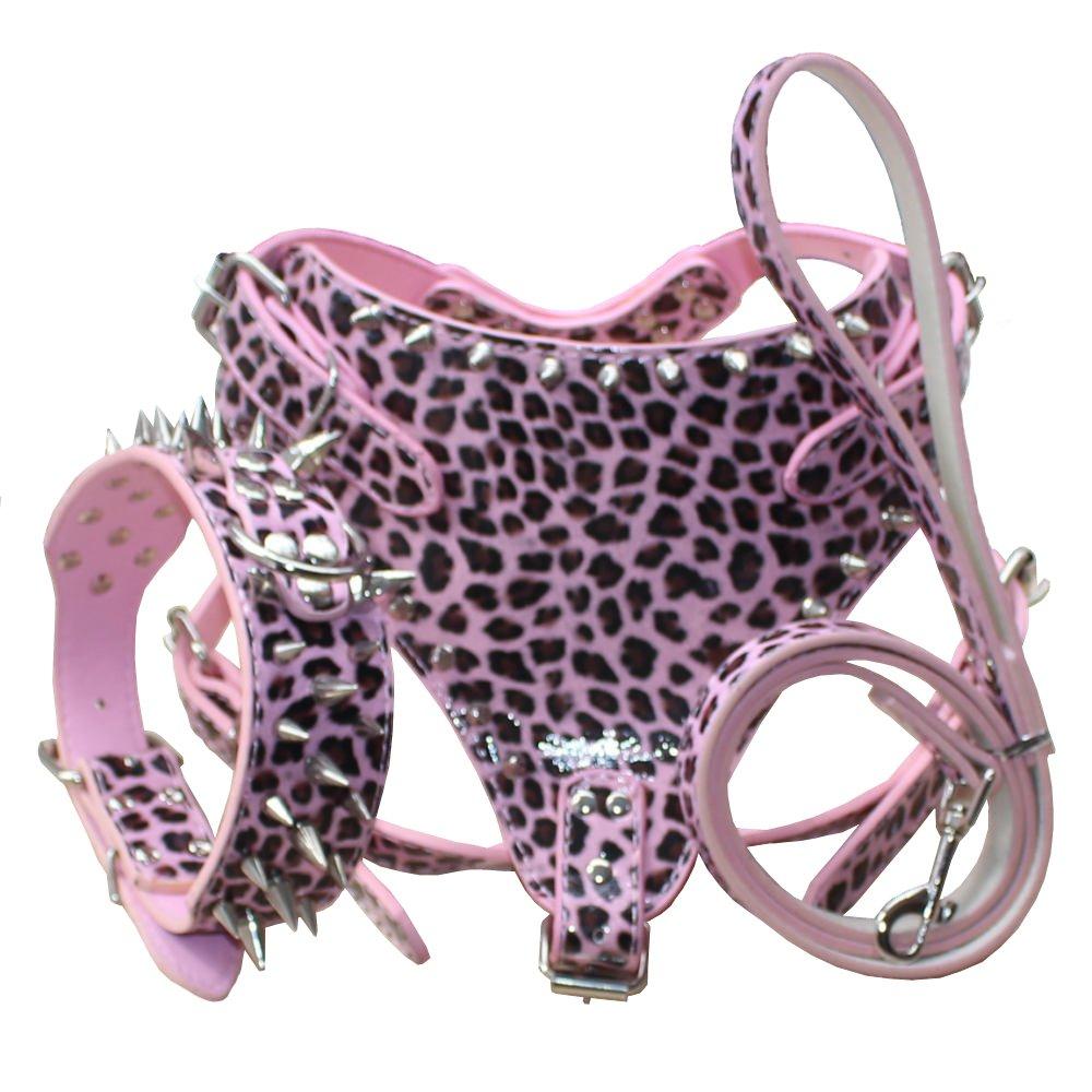 Benala Soft Durable Leather Dog Harness & Sharp Spikes Collar & Leash Set for Training Sports Walking Travel Mastiff Pitbull Boxer (Leopard,Xl) by Benala