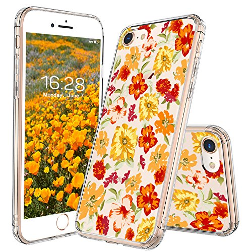 iPhone 8 Case, iPhone 7 Case, MOSNOVO Saffron Yellow Flower Floral Clear Design Printed Plastic Back Case with TPU Bumper Protective Case Cover for Apple iPhone 7 / iPhone 8