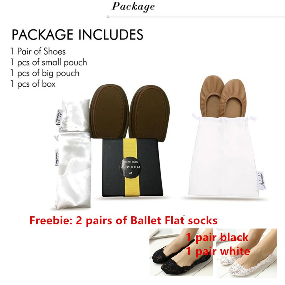 Women Ballet Flat Genuine Leather Ballerina Portable Travel Flats Pocket Shoes + 2 Pairs Freebie of Ballet Flat Socks B07DL26YZD 6 B(M) US|Black
