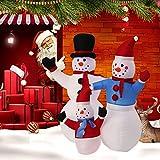Kinbor 4FT Snowman Family Christmas Air Blown Inflatable Christmas Air Blown Inflatable