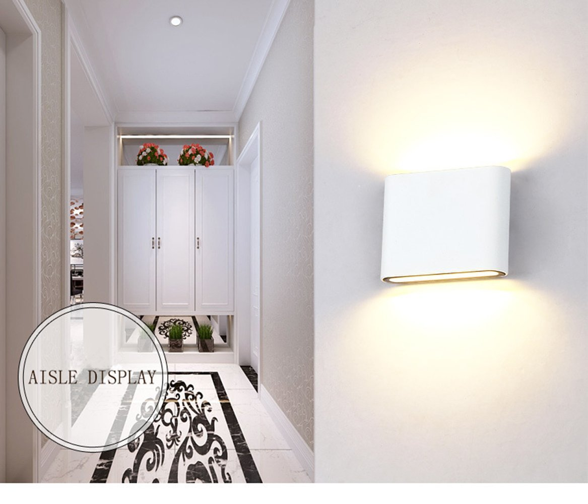 Glighone Wandleuchte LED Weiss Innen Aussen Wandlampe Up Down Modern 6W  Warmweiß Aluminium Flurlampe Ideal Für Wohnzimmer Schlafzimmer Flur Pathway  ...