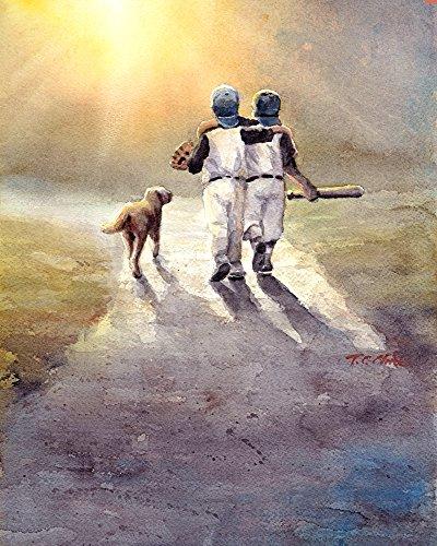 ay Baseball with Dog Art print of Watercolor Painting - Baseball Players with Dog ()