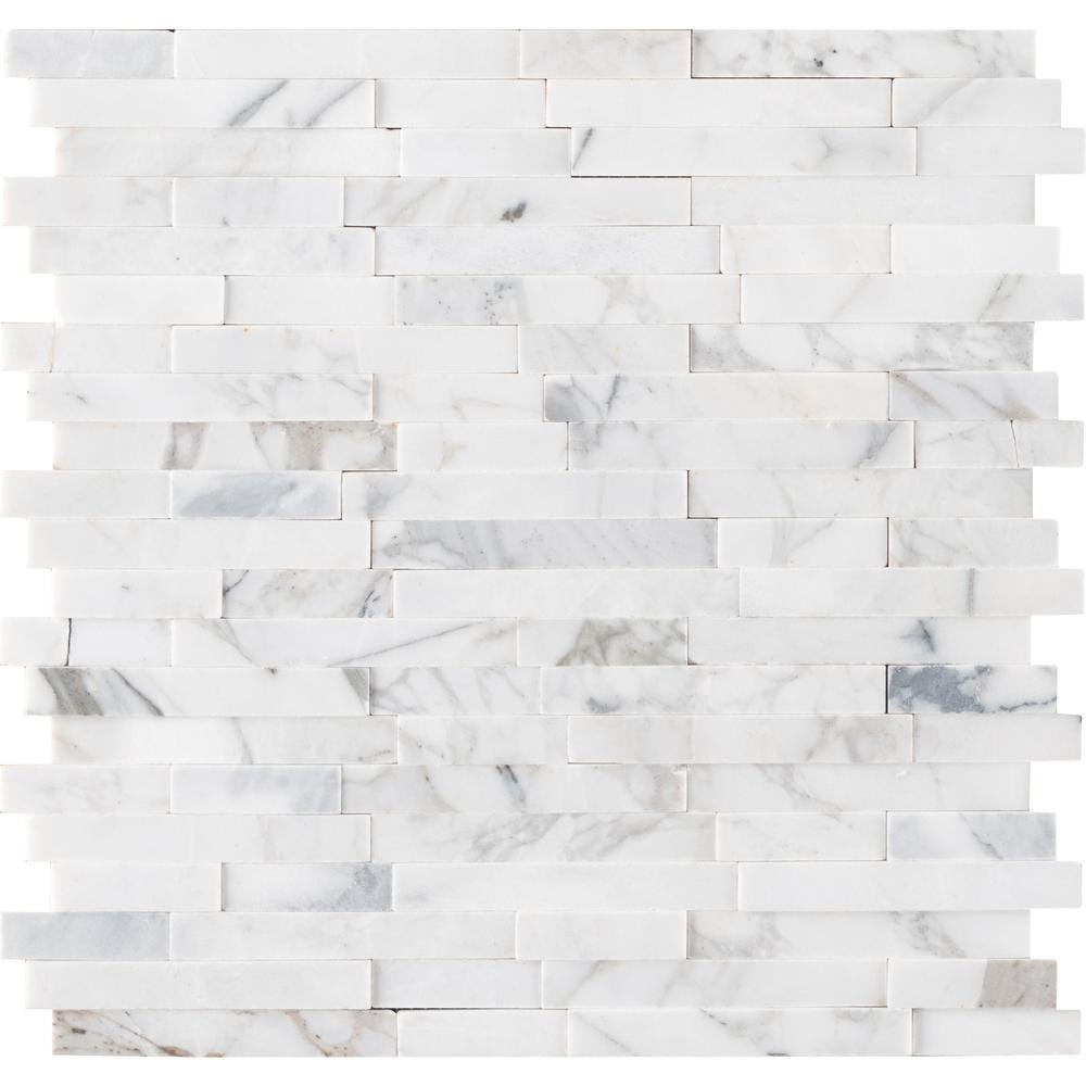 Vogue Peel & Stick Calacatta Carrara Interlocking 3D Random Pattern Marble Mosaics for Kitchen Backsplash & Wall Tile (1)