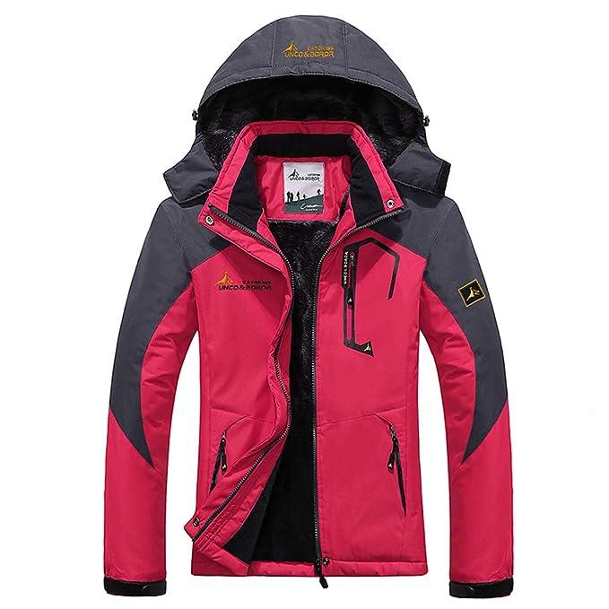 WANPUL Chaqueta Softshell Hombre Mujer Chaquetas Transpirable Chaqueta de Montaña Impermeable Chaqueta de Nieve a Prueba Viento Rose Red 3XL: Amazon.es: ...