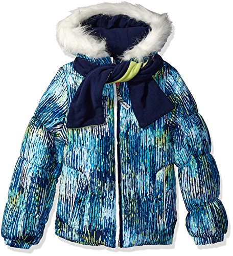 (London Fog Girls' Big Puffer Jacket with Accessory, Turquoise/Scarf, 10/12)