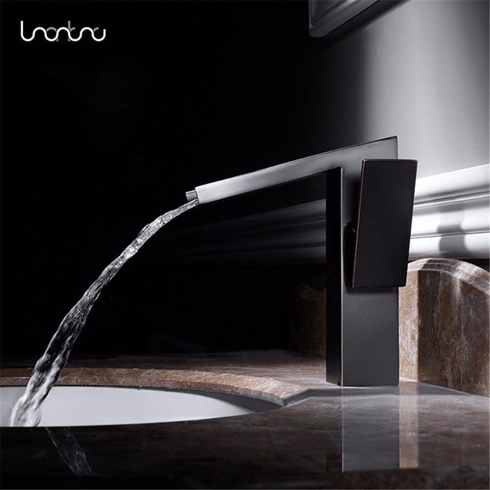 AQiMM Wasserhahn Waschtisch Waschbecken Armatur Schwarz Antik Und Kaltes Wasser Auf Die Höhe - Kupfer Waschtischarmatur Waschbeckenarmatur Badarmatur Für Badezimmer