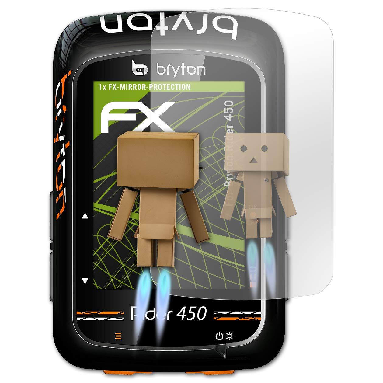 atFoliX Protecci/ón de Pantalla para Bryton Rider 450 L/ámina Protectora Espejo Efecto Espejo FX Protector de Pantalla Espejo