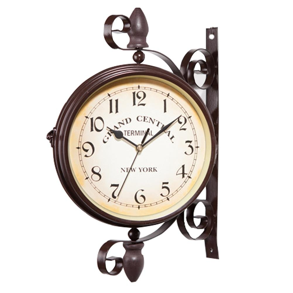 LianLe Double Sided Wall Clock, Vintage Wall Mounted Two Faces Retro Station Clock, Wall Hanging Clock Scroll Wall Side Mount Home Garden Décor