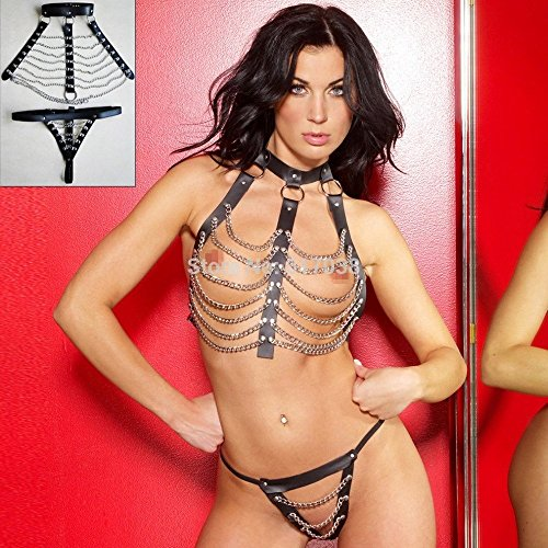 Clearance Sale Leather Sexy Metal Chain Fetish Body Bondage Neck Restraint Dress Set with Harness Collar Adult Costume Sex Game Toy for Women by Crazy Sexy Cool