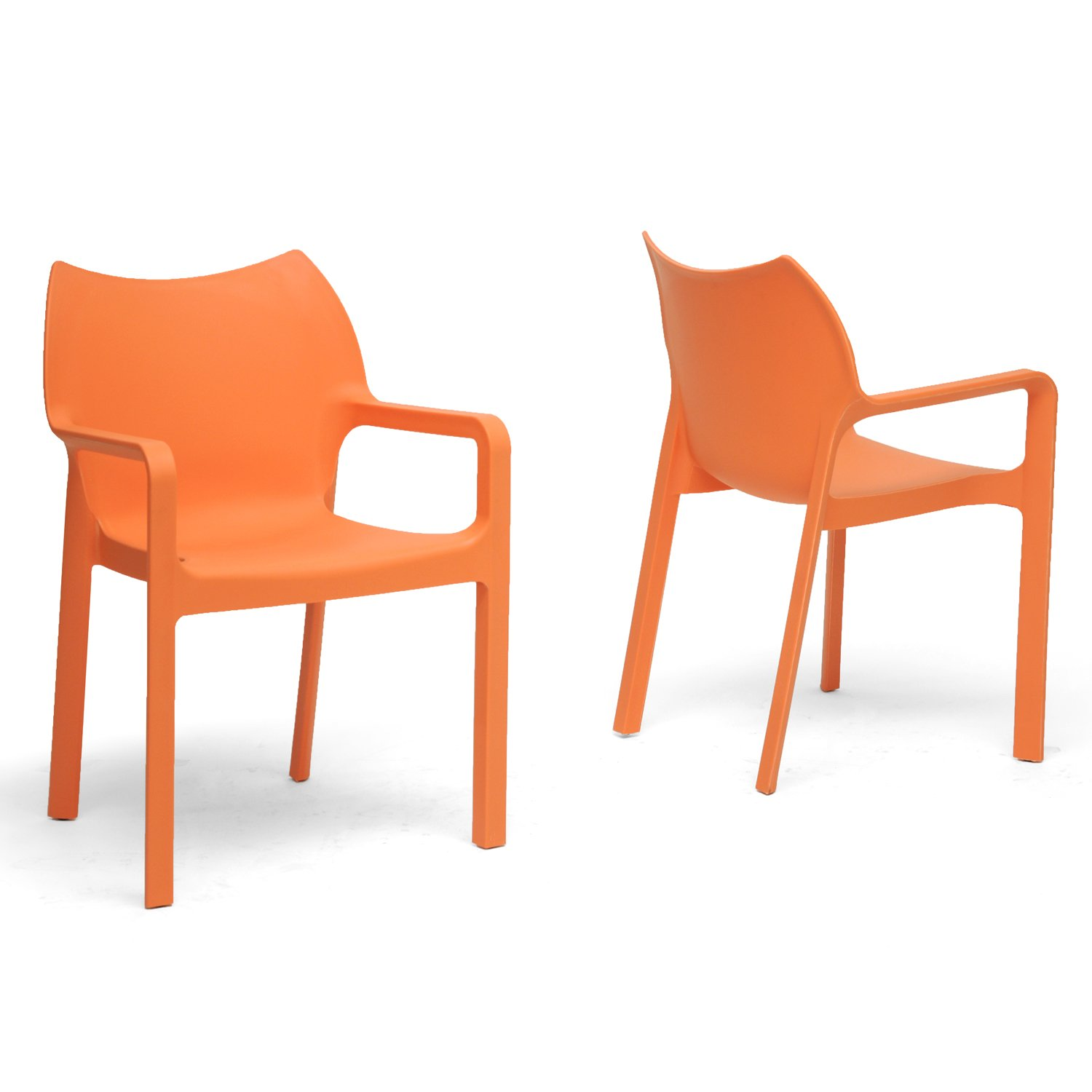 Amazon.com: Baxton Studio Limerick Plastic Stackable Modern Dining Chair,  Orange, Set Of 2: Kitchen U0026 Dining