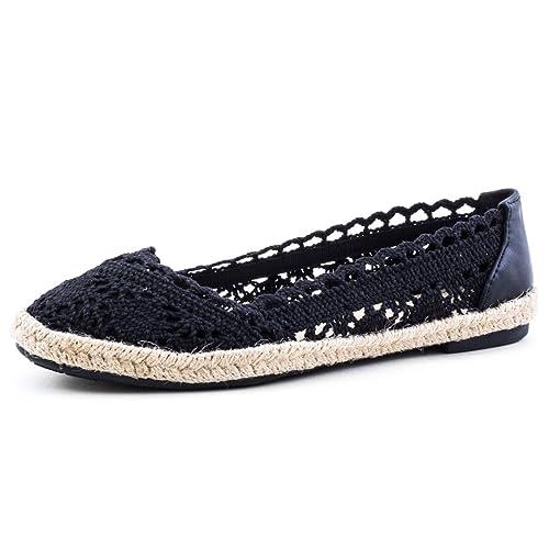low priced 1d595 f99ca Damen Espadrilles Ballerinas Sommer Slipper Schuhe in Textil Häkeloptik mit  Bast