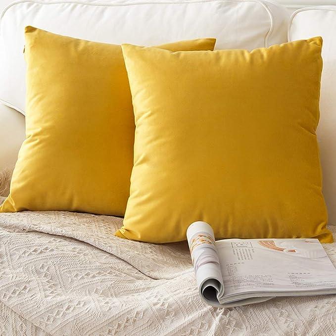 PotteLove Luxury Soft Solid Home Decorative Velvet Pillow Covers Euro Sham Cushion Case for Home Sofa Chair Car ...