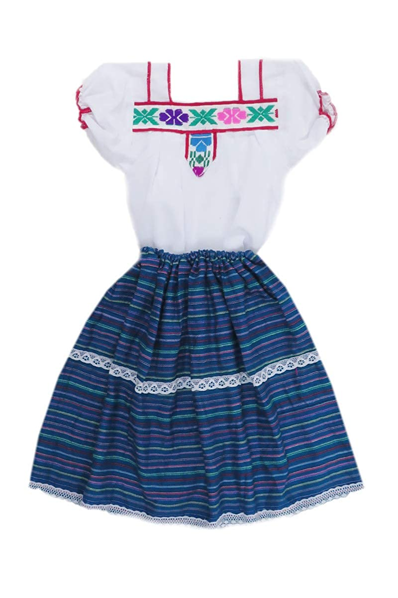 Mexican Clothing Co Little Girls Mexican Costume Embroidered Blouse n Skirt Poplin CT MXCCOP0322