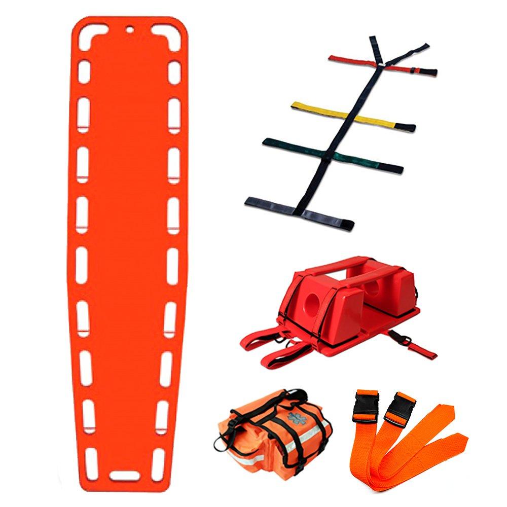 First Responder EMT Backboard Spine Board Stretcher Immobilization with Head Bed and Spider Straps - Gift EMT Trauma Bag … (Orange)