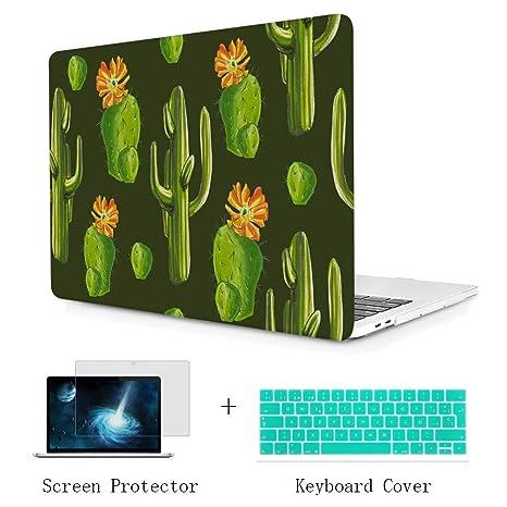 TwoL Carcasa MacBook Pro 13 2016 2017 2018, Diseño de Cactus Funda Dura Carcasa con Cubierta de Teclado y Protector de Pantalla para MacBook Pro 13 ...