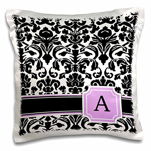 3dRose InspirationzStore Monograms - Personal Initial A Monogrammed Pink Black and White Damask Pattern Girly Stylish Personalized Letter - 16x16 inch Pillow Case (pc_154376_1)
