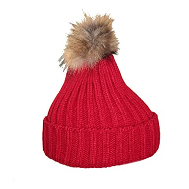 Waooh , Bonnet Pompon Fourrure Marmotte Axele , ROUGE, ... 24859c3b839