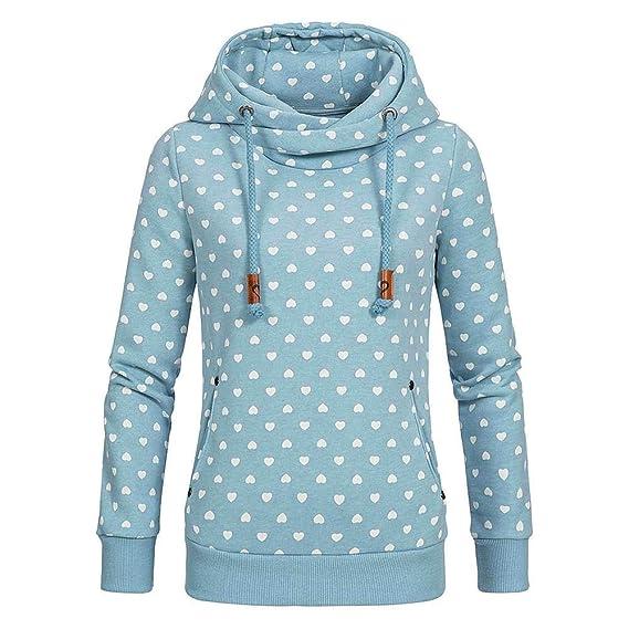Sweatshirt Maniche Lunghe Felpa ASHOP Magliette Donna Autunno Inverno  Vestiti Autunno Inverno Donna Taglie Forti Blu 5f04df9e752