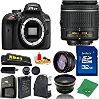 Great Value Bundle for D3400 DSLR – 18-55mm AF-P + 32GB Memory + Wide Angle + Telephoto Lens + Backpack