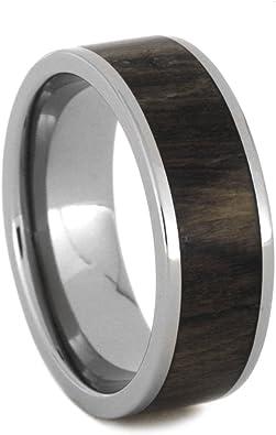 Size 5 Tulip Wood Inlay 8mm Comfort Fit Titanium Wedding Ring
