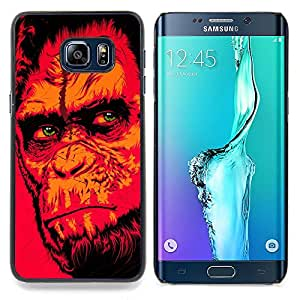 "Qstar Arte & diseño plástico duro Fundas Cover Cubre Hard Case Cover para Samsung Galaxy S6 Edge Plus / S6 Edge+ G928 (Red Monkey Gorila"")"