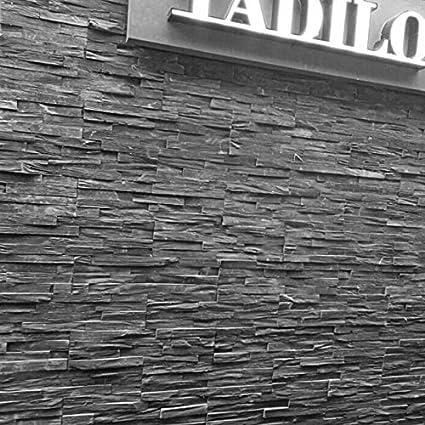Panana 35 X10cm Black Slate Split Face Cladding Mosaic Tiles For